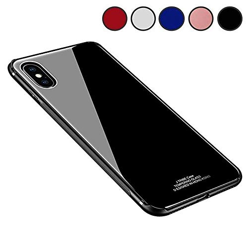 Chengming Compatible With iPhone X Tempered Glass Case,Toughened Glass Back Cover + TPU Frame Hybrid Perfect Fit Case Slim Case Anti-Scratch Anti-Drop (Black, iPhone X) (Toughened Glass)