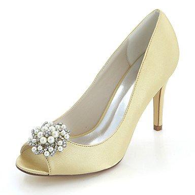 Wuyulunbi@ Damenschuhe Satin Frühling Sommer Basic Pumpe Hochzeit Schuhe Schuhe Schuhe Stiletto Heel Peep Toe Strass Imitation Pearl für Hochzeit Party & Abend  Gold 8ff40b