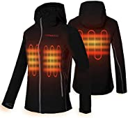 CONQUECO Women's Heated Jacket Slim Fit Electric Hoodie Jacket with Battery