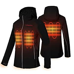 CONQUECO Women's Heated Jacket Slim Fit Electric Hoodie Jacket with Battery Pack (S)