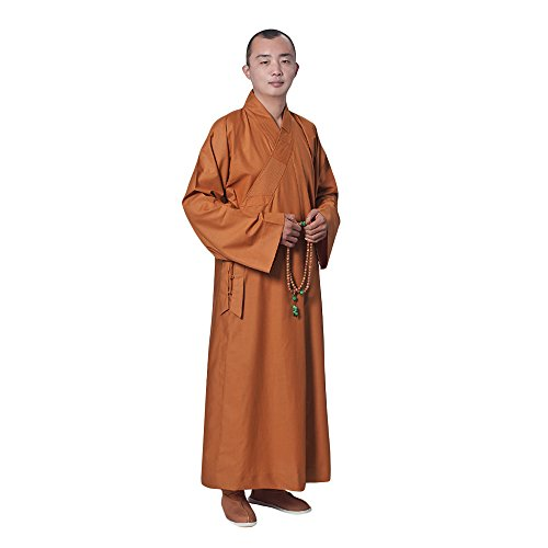 ZooBoo Summer Buddhist Shaolin Monk Robe Cotton Linen Long Robes Gown Kung Fu Uniforms Martial Arts Clothings (Earth Yellow, 38)