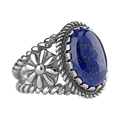 American West Sterling Silver Blue Lapis Gemstone Ring Size 5