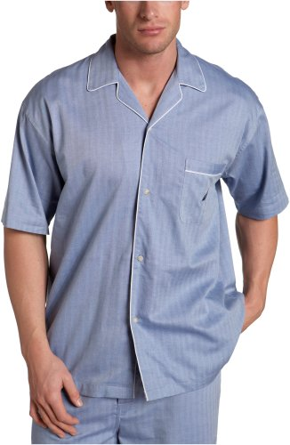 Nautica Sleepwear Men's Herringbone Woven Short Sleeve Camp,Blue - Mens Woven Short Top Sleeve