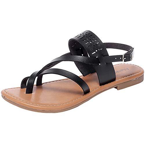 (Ataiwee Women's Casual Wear Flat Sandals Criss Cross Ankle Strappy Flip Flop.(1903059 BlackPU 10) )