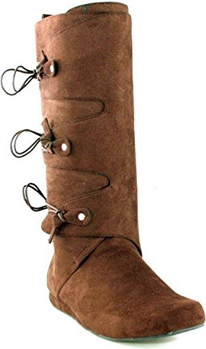 [Brown Renaissance Men's Boots - Large] (Suede Renaissance Boot Costumes)