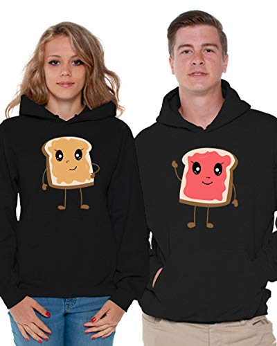 Awkward Styles Matching Hoodie Sweater Shirts as Peanut Butter & Jelly Couple Collection Black Black Men Large/Ladies Medium