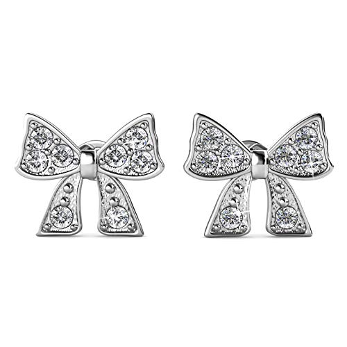 (Silver & Post 18K White Gold Plated Beautiful Bow Earrings with Premium Austrian Crystals. Fancy Burlap Gift Box Included.)