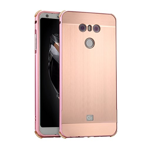 Price comparison product image LG G6 Case, DAMONDY Luxury Ultra thin Metal Brushed Premium Aluminum Shockproof Protective Bumper Hard Back Case Cover for LG G6 2017 -Rose