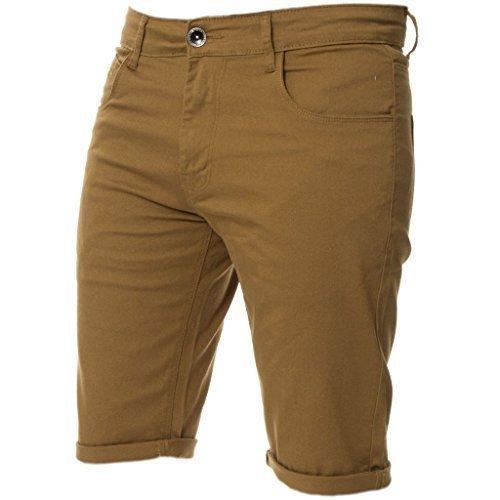 Kruze Herren Chino Shorts markiert Designer Jeans Freizeit blau schwarz rot hellbraun, neu mit Etikett - Hellbraun, 40 x regular leg