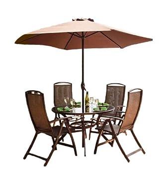 havana-set di sedie in metallo da 4 posti, colore: bronzo, con ... - Metallo Patio Tavolo E Sedie Rotondo