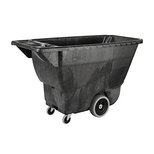 Rubbermaid Commercial Polyethylene Box Cart, 450 lbs Load Capacity, Black, (FG9T1300BLA) - Capacity Cleaning Cart