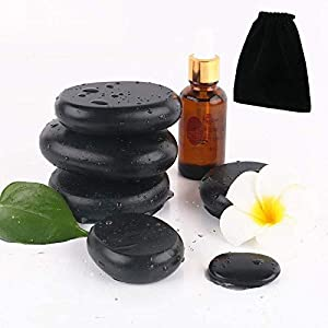 Hot Stones - 4 Large Essential Massage Stones Set (1.96in-2.36in) for Professional or Home spa, Relaxing, Healing, Pain Relief by Great for Spas, Storage Velvet Bag Included