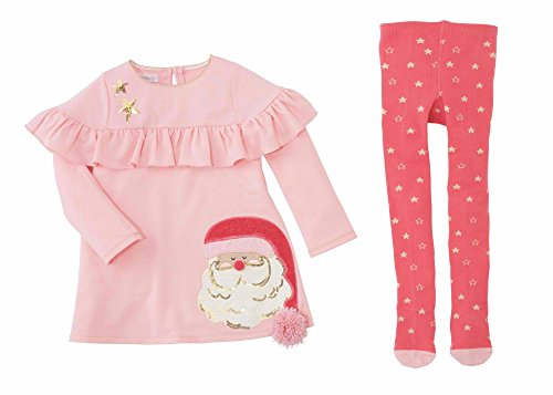Mud Pie Baby Girl's Santa's Christmas Dress and Tights Two-Piece Set (Infant) Pink 3-6 US Infant
