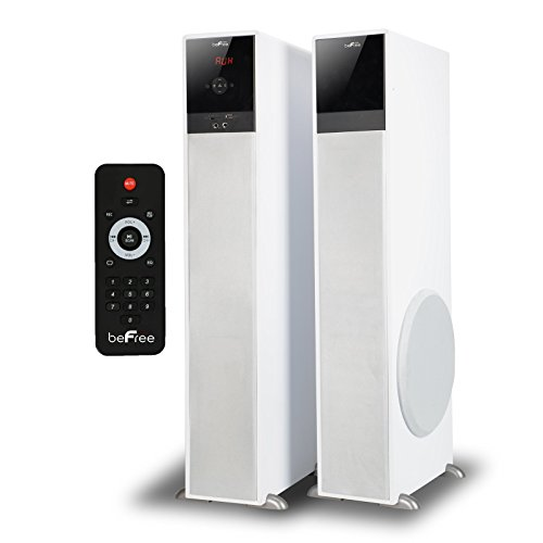 beFree Sound BFS-TP100W 2.1 Channel Bluetooth Tower Speakers - White by BEFREE SOUND
