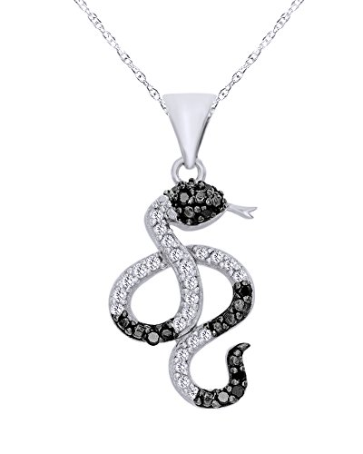 Wishrocks 1/10 CT Round Cut Natural Black and White Diamond Snake Pendant Necklace in 14K White Gold Over Sterling Silver