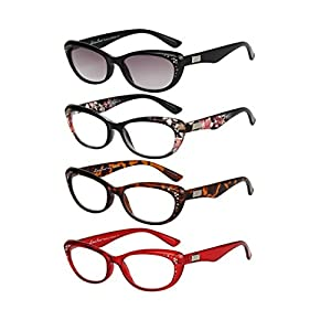 LianSan Cat Eye Reading Glasses Rhinestone Ladies Designer Lightweight Fashion Plastic Retro Magnifying Eyeglasses with Sunglasses Reader for Women with Case 4 Pack L3705, +2.00 Magnifaction