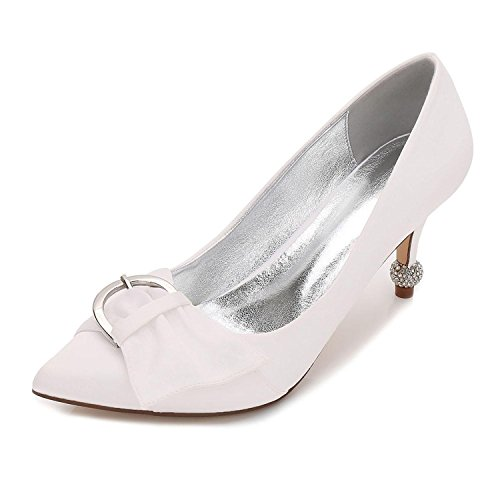Summer yc Sposa amp; 26 Basic Abito Satin F17767 Party Comfort Ivory Pump Da Scarpe L Ribbon Donna Evening HvdqwwC