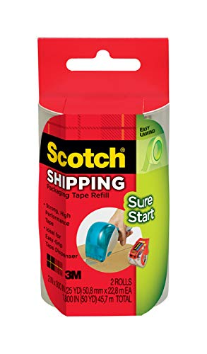 Scotch Sure Start Shipping Packaging Tape Refill for Scotch Easy Grip Dispenser, 1.88 in x 600 in, 2 pack (DP-1000-RR-2)