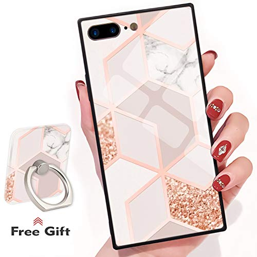 Bitobe Bling Glitter Sparkle Rose Gold Marble iPhone 7 Plus iPhone 8 Plus Square Edges Case with Phone Ring Stand Grip Holder Soft TPU Slim Square Case iPhone 7 Plus Phone Cover iPhone 8 Plus 5.5 inch ()