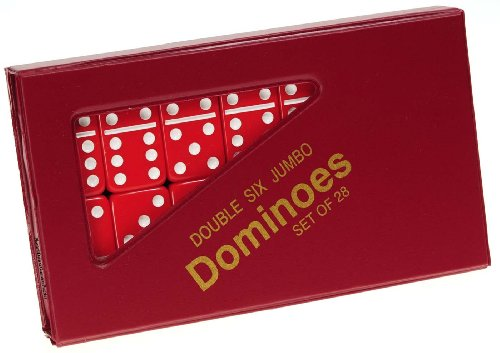 Dominoes Jumbo RED with White Pips _ Double Six Set of 28 - White Colored Dominoes
