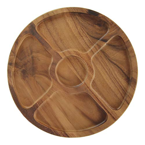 Wood Appetizer Set - roro Round Wood Compartment Divided and Dip Tray, 13 Inch
