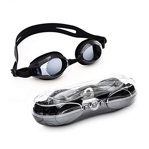 WarmieHomy Prescription Swim Goggles, Anti-fog UV Protection Nearsighted Optical Corrective (-1.50 to -7.0) Swimming Goggles for Kids & Adults(Black,-3.50) (Swim Goggles Kids Prescription)