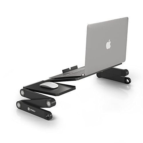 """Pwr+ FlexTop Portable Laptop-Table Desk Folding Fully Adjustable-Ergonomic Multifunctional: MacBook Ultrabook Tablet Black Bed Tray Book Stand Up to 15"""""""