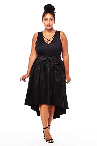 Pleat Hem Skirt ((Plus Size) Taffeta Pleats High Low Hem Banded Waist Bow Embellishment Skirt)
