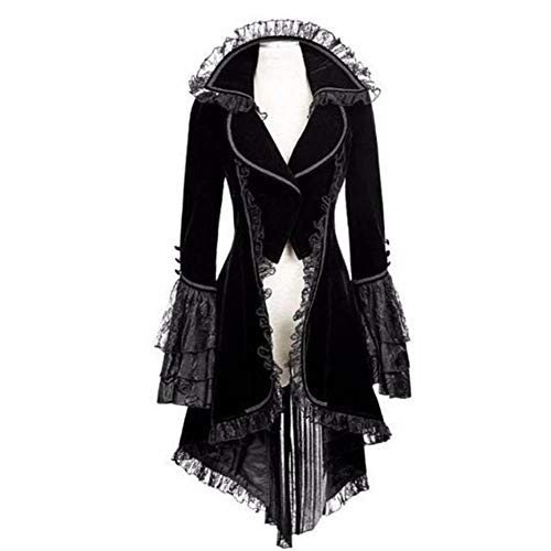 Women's Gothic Steampunk Lace Up Hooded Trench Coat Jacket Blazer Tops Halloween Lolita Witch Dress Punk Waist Skirt (Black D, -