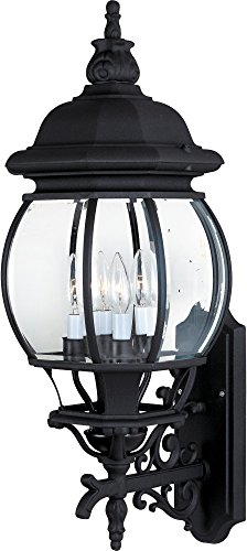 - Maxim 1037BK Crown Hill 4-Light Outdoor Wall Lantern, Black Finish, Clear Glass, CA Incandescent Incandescent Bulb , 60W Max., Dry Safety Rating, Standard Dimmable, Frosted Glass Shade Material, Rated Lumens