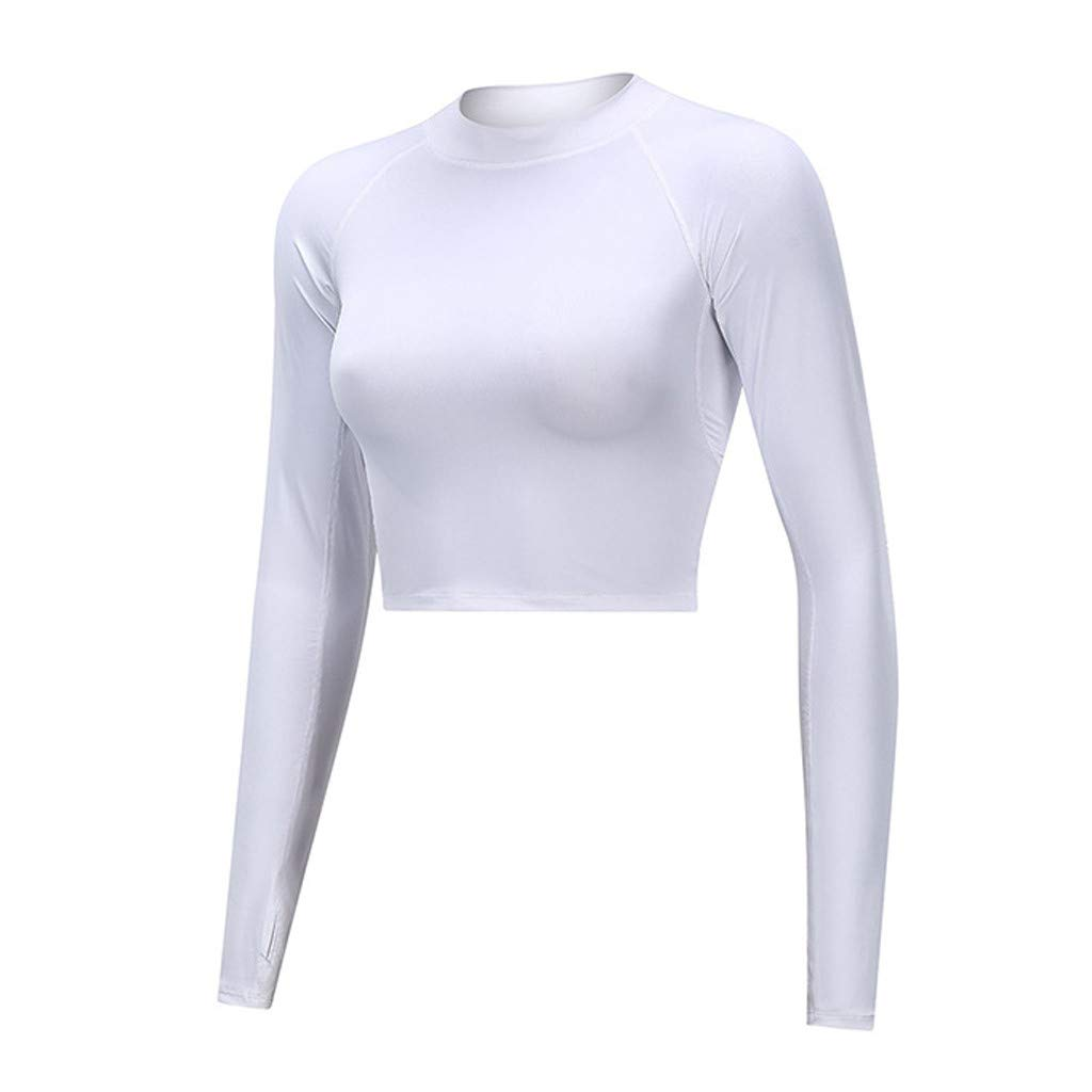 generisch Damen Sport T-Shirt Langarm Laufshirt Fitness Sweatshirt Laufjacke Running Tops Frauen Pure Color Langarm Tight Fitness Laufen Yoga Jacke Tops