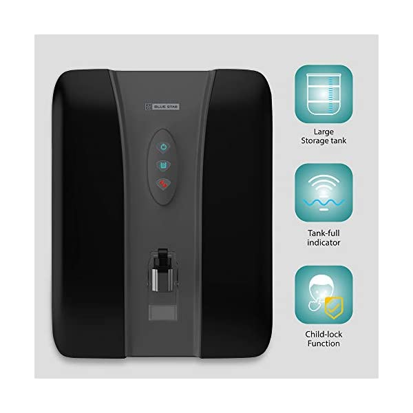 Blue Star Eleanor 8-Liter,RO + UV + UF + IBT + Alkaline Water Purifier, Black, EL5BLAM01 2021 June Triple Layered RO+UV+UF Protection-Double layered RO+UV+UF protection to ensure that the water you drink is absolutely safe without any compromises. RO removes dissolved impurities, microorganisms, heavy metals and radioactive matter, while UV deactivates microorganisms such as bacteria, cysts and viruses. UF is a separation process that uses a semi-permeable membrane. It filters out physical impurities as well as harmful microbes like bacteria and cycts from drinking water Alkaline Antioxidant Water (with added minerals)-Alklaline Antioxidant Water (with added minerals) is a technology which provides alkaline antioxidant water which strengthens your defence system enhancing immunity and helps the body being healthy and work perfectly Aqua Mineral Infuser (AMI)-Aqua Mineral Infuser (AMI) is a cartridge that adds minerals, like calcium, magnesium and other trace minerals which oxygenate and fortify water and are essential for health