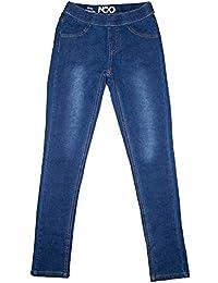 Girls Classic pull-on Kids Denim Stretch Blue Jeggings Leggings Jeans Pants