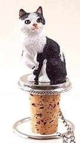 Manx Black & White Cat Wine Bottle Stopper ()