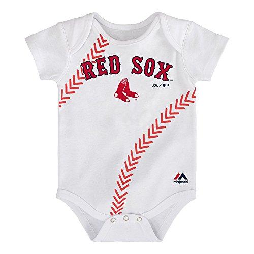 Boston Red Sox White Stitches Bodysuit Onesie Creeper 0-3 (White Boston Red Sox Shirt)