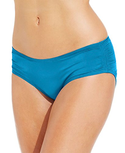 Reef Hipster Bottom - Coco Reef Solid Color Ruched Hipster Bikini Bottom (Large, Lagoon)