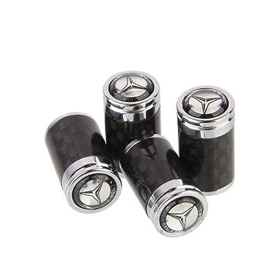 CzlpV 4pcs Carbon Fiber Auto Car Wheel Tire Air Valve Caps Stem Cover fit for Mercedes Benz: Automotive