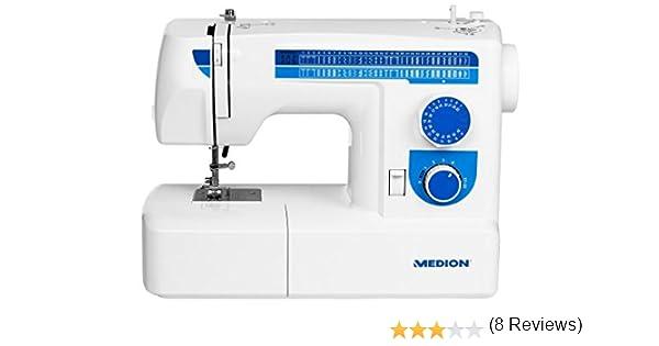 MEDION MD 17187 - Máquina de Coser (Azul, Blanco, Máquina de Coser semiautomática, Bordado, Overlock, Costura, Paso ...