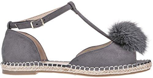 Womens ladies peep toe T-bar espardrilles pumps summer flat pom sandals shoes 3-8 Grey mGFHu6