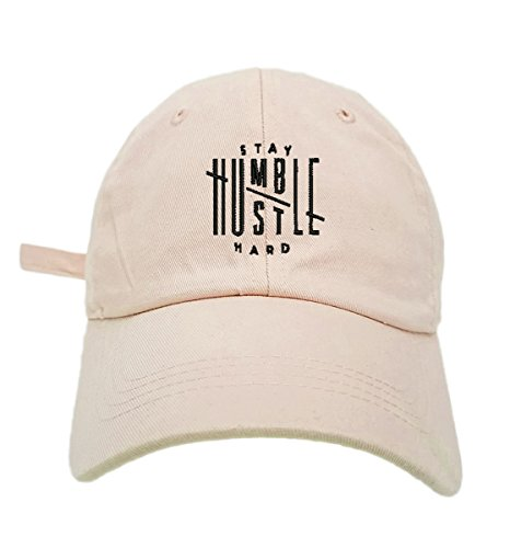 TheMonsta Humble Stay Hard Logo Style Dad Hat Washed Cotton Polo Baseball Cap (Beige)