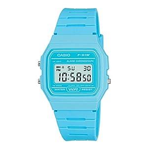 Reloj vintage Casio F-91W unisex azul claro