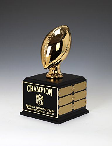Football Trophy, Gold Chrome Plated, Perpetual 12 year, Custom Engrave Online When you Order by SLD Awards Line