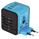 Universal Travel Adapter, Castries All-in-one Worldwide Travel Charger Travel Socket, International Power Adapter with 4 USB Ports, AC Plug for US EU UK AU & Asian Countries, Blue
