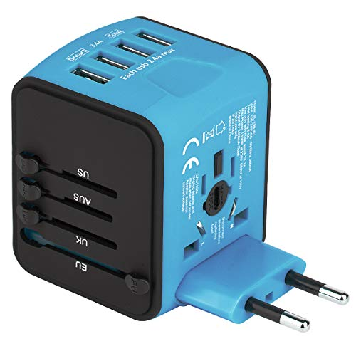 Castries Universal Travel Adapter, All-in-one Worldwide Travel Charger Travel Socket, International Power Adapter Converters with 4 USB Ports, AC Plug for US EU UK AU & Asian Countries, Blue