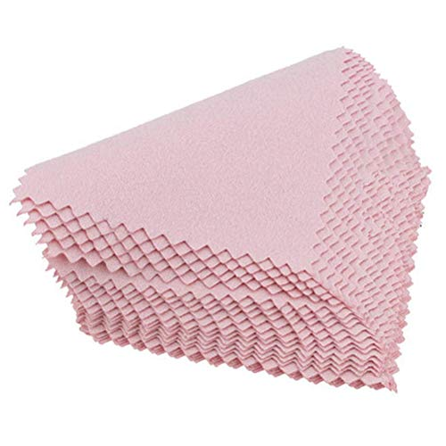 CLIENSY 50 PCS Silver Polishing Cloth Cleaner Jewelry Cleaning Cloth Anti-Tarnish Tool