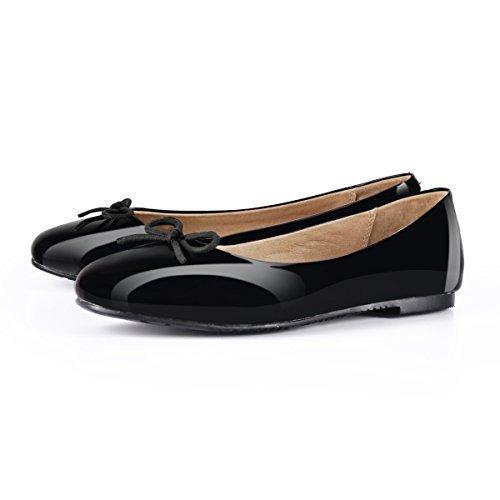 onlymaker Women's Round Toe Slip On Sweet Bow Knot Flats Dress Ballet Shoes Black 9 M US