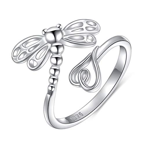 SILVER MOUNTAIN 925 Sterling Silver Open Heart Insect Dragonfly Wrap Ring for Women Girls (Adjustable Ring) (Dragonfly(wing fitting finger design)) ()