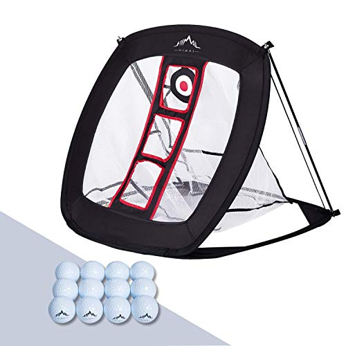 Himal Pop Up Golf Chipping Net Indoor Outdoor Collapsible Golf Accessories Golfing Target Net - for Accuracy and Swing Practice with 12 Training Balls