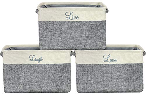 (Sorbus Storage Basket Set [Pack 3] Large 15 x 10 x 9 Live Laugh and Love, Big Rectangular Fabric Collapsible Organizer Bins with Carry Handles for Easy Use (Storage Grey Bins - Script Text))