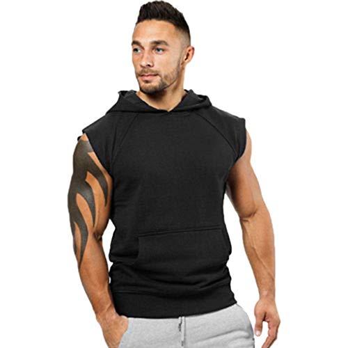 (TANGSen Fashionable Men's Vest Jacket Lightweight Sleeveless Hoodie Solid Casual Summer Sport Shirt Top Black)